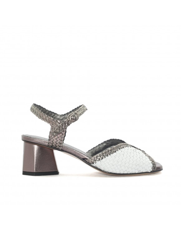 BAYONA WHITE + STEEL HEELED SANDAL